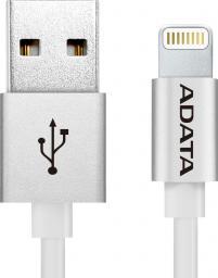 Kabel USB ADATA Lightning, certyfikat MFI, 1m, Aluminium, Silver (AMFIAL-100CM-CSV)