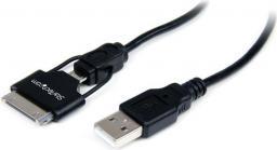Kabel USB StarTech 30 pin, microUSB / 2.0 0.65m Czarny (USB2UBADC1M)