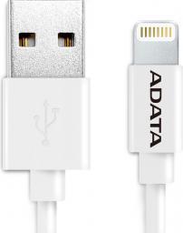 Kabel USB ADATA Lightning, certyfikat MFI, 1m, Biały (AMFIPL-100CM-CWH)