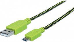 Kabel USB Manhattan USB 2.0 A - MicroUSB 2.0 B,  1 m, Oplot, Czarno-Zielony (352772)