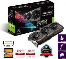 Karta graficzna Asus GeForce GTX 1070 ROG 8GB GDDR5 (256 bit) 2x HDMI, 2x DP, DVI-D, BOX (STRIX-GTX1070-O8G-GAMING)