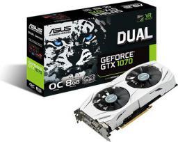 Karta graficzna Asus GeForce GTX 1070 Dual OC 8GB GDDR5 (256 Bit) DVI, 2x HDMI, 2x DisplayPort, BOX (90YV09T1-M0NA00) DUAL-GTX1070-O8G
