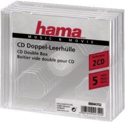 Hama Pudełko Na Płyty CD/DVD, Podwójne, 5 szt. , Przezroczysty (44752)