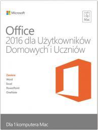 Microsoft Office 2016 dla Użytkowników Domowych i Uczniów dla Mac EN 32/64-bit Medialess (GZA-00695)