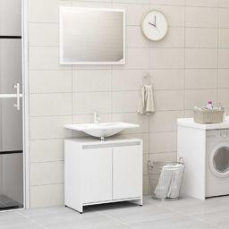 vidaXL Zestaw mebli łazienkowych wysoki połysk biały płyta wiórowa VidaXL