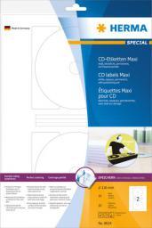 Herma Etykiety samoprzylepne Maxi 8624 na CD, białe, okrągłe, Ø 116 mm, papier matowy, 20 szt (8624)
