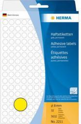Herma Etykieta okrągła    ø 8mm, żółty papier, 5632 sztuk (2211)