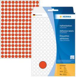 Herma Etykiety samoprzylepne, czerwone, okrągłe  8 mm 5632 Szt. - 2212