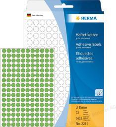 Herma Etykiety samoprzylepne, zielone,  8 mm, okrągłe 5632 Szt. - 2215