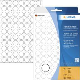 Herma Etykieta okrągła, 13 mm, papier biały,  2464 sztuk (2230)