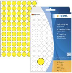 Herma Etykiety samoprzylepne okragłe, żółte 13 mm  2464 Szt. - 2231