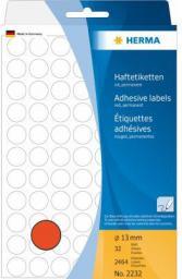 Herma Etykieta okrągła ø 13mm, czerwony papier,  2464 sztuki (2232)