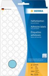 Herma Etykieta okrągla ø 13mm, niebieski papier,  2464 sztuk (2233)