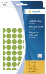 Herma Etykiety samoprzylepne, okrągłe, zielone 13 mm 2464 Szt. - 2235