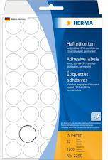 Herma Etykiety samoprzylepne, okrągłe, białe 19 mm  1280 Szt. - 2250