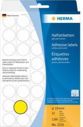 Herma Etykieta okrągła żółty papier, 1280 sztuk (2251)