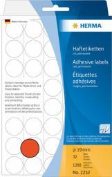 Herma Etykieta okrągła papier matowy czerwony, 1280 etykiet (2252)