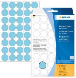 Herma Etykiety samoprzylepne, okrągłe, niebieskie 19 mm  1280 Szt. - 2253