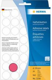 Herma Etykieta  ø 19mm, czerwony papier fluorescencyjny, 960 sztuk (2256)