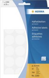 Herma Etykiety samoprzylepne, okrągłe, białe  25 mm 768 Szt. - 2260