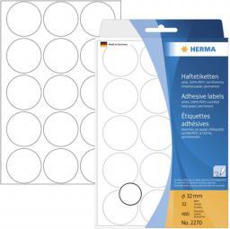 Herma Etykiety samoprzylepne, okrągłe, białe 32 mm 480 Szt. - 2270