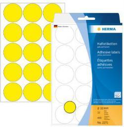 Herma Etykiety samoprzylepne żółte, 32mm 480 Szt. - 2271