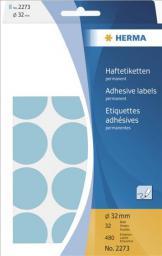 Herma Etykiety samoprzylepne, okrągłe, niebieskie 32 mm,  480 Szt. - 2273