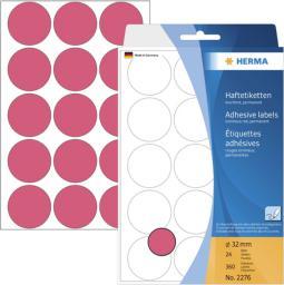 Herma etykieta, 32 mm okrągła czerwony papier, 360 sztuk (2276)