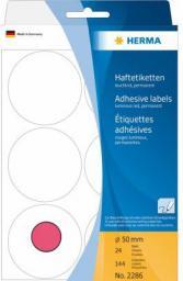 Herma Etykieta okrągła ø 50mm, czerwony papier fluorescencyjny, 144 sztuki (2286)