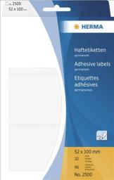 Herma Etykiety samoprzylepne, białe  52x100 mm, 96 Szt. - 2500