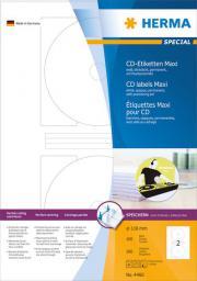Herma Etykiety samoprzylepne Maxi 4460, A4, na CD, białe, okrągłe, Ø 116 mm, papier matowy, 200 szt (4460)