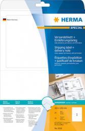 Herma Etykiety adresowe 8316, A4, etykieta wysyłkowa oraz list przewozowy w jednym, białe, 182 x 130 mm, papier matowy nieprzezroczysty, 25 szt (8316)