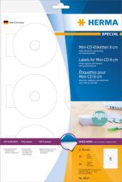 Herma Etykiety samoprzylepne 8619, na Mini-CD 8 cm, białe, okrągłe, Ø 78 mm, papier matowy nieprzezroczysty, 60 szt (8619)