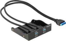 Delock 2 portowy panel przedni USB 3.0 z wewnętrznym 19 pinowym złączem główkowym (61896)