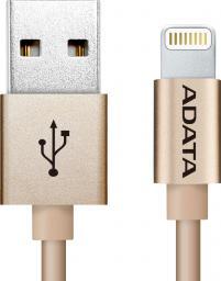 Kabel USB ADATA Lightning, certyfikat MFI, 1m, Aluminium, Gold (AMFIAL-100CM-CGD)