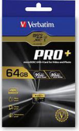 Karta Verbatim Pro+ MicroSDXC 64 GB Class 10 UHS-I/U1  (44034)