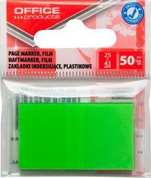 Office Products Zakładki indeksujące OFFICE PRODUCTS, PP, 25x43mm, 1x50 kart., zawieszka, zielone