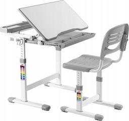 Costway Stół kreślarski biurko szkolne z krzesłem dla dziecka grey