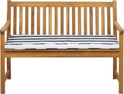 Beliani Ławka ogrodowa z certyfikowanego drewna 120 cm niebieska poduszka VIVARA