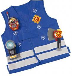 Simba Strażak Sam Kamizelka Strażacka z walkie talkie, strażackim toporkiem i latarką ze światłem led