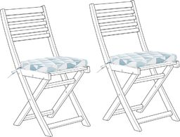 Beliani Zestaw 2 poduszek na krzesło ogrodowe w trójkąty niebieskie FIJI