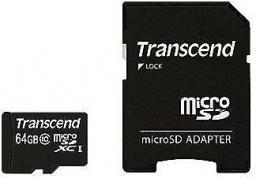 Karta MicroSD Transcend microSDXC, Class 10, UHS-I, 64GB + Adapter (TS64GUSDXC10)