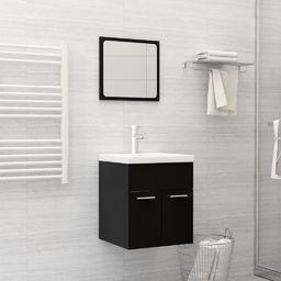 vidaXL 2-częściowy zestaw mebli łazienkowych, czarny, płyta wiórowa