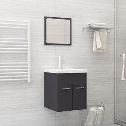 vidaXL 2-częściowy zestaw mebli łazienkowych, szary, płyta wiórowa