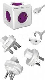 PowerCube Przedłużacz ReWirable 1m + wtyczki Travel Plug różowy (1801/DERW3P)