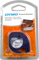 Dymo Letratag Metallic tape silver 12mm x 4 m 91228 (S0721750)