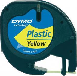 Dymo Letratag Plastic tape yellow 12mm x 4m 91222 (S0721670)
