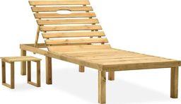 vidaXL Leżak ogrodowy ze stolikiem, impregnowane drewno sosnowe (315395)