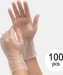 BigBuy Cleaning Jednorazowe rękawiczki winylowe EGV-01 Rozmiar M (100 Sztuki)