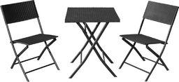 Saska Garden Zestaw mebli balkonowych stolik i 2 krzesła czarny